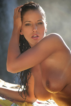 Angel Dark Nude Under The Waterfall