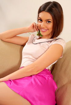 Abigail In Pink Silk Skirt