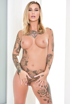 Gorgeous Tattooed Babe Kleio Valentien In Sexy Black Latex Catsuit