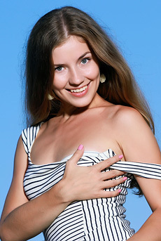 Cute Teen Babe Vivian Strips Off Her Tiny Striped Dress